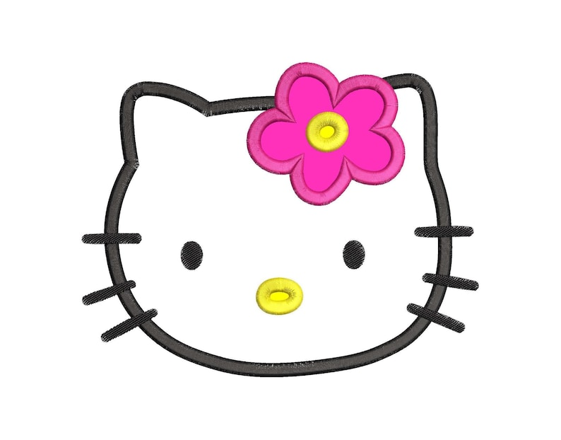 Hello kitty applique 03 embroidery design instant download etsy