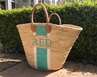 Personalised French basket, Beach bag, Monogram, Palm bag, Stripe, Initials, Morroccan