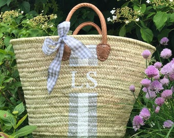 Personalised market basket beach bag french moroccan coloured stripe