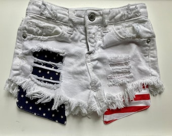 Navy stars and red white stripes fourth of July independence day bottoms Patriotic flag patched distressed denim shorts for girls