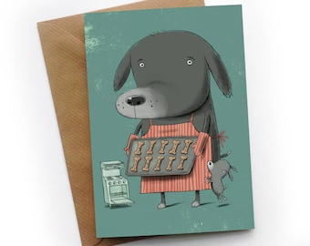 Musical cat greeting card by illustrator simon cooper etsy dog baking biscuits greeting card by illustrator simon cooper m4hsunfo