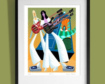 Rush. Limited edition print of original artwork commissioned by Prog Magazine. Signed by illustrator Simon Cooper