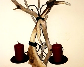Candle holder for the wall and two pillar candles. Upcycling with Driftwood and a dam wild drop bucket