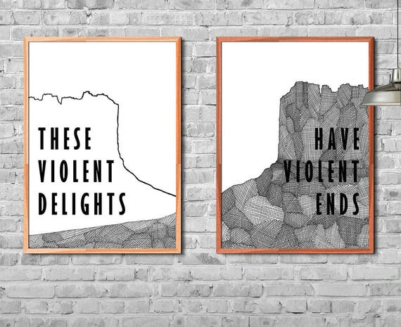 These Violent Delights Have Violent Ends Westworld Shakespeare crosshatching Poster Ink Drawing Handmade Art Print
