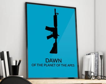 Dawn of the Planet of the Apes | Minimal | Gun | Alternative Film Poster Print Design | A0 A1 A2 A3 A4