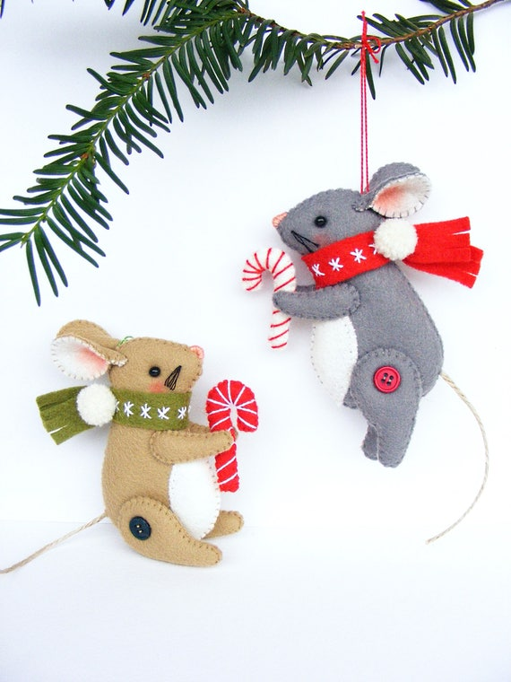 Christmas Mouse.Felt Pdf Sewing Pattern Christmas Mouse Christmas Ornament Felt Mice Hand Sewing Diy Project Digital Item