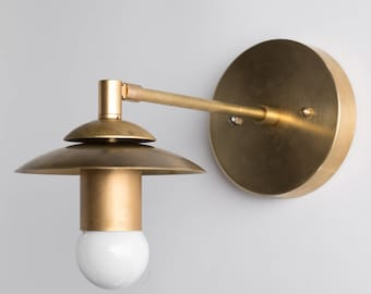 Brass Sconce - Rustic Wall Sconce - Modern Wall Light - Gold Sconces - Mid Century Sconce - Model No. 5065