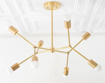 Brass chandelier etsy geometric lamp modern brass chandelier ceiling fixture gold chandeliers aloadofball Images