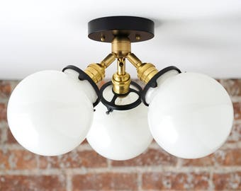 Globe Lights   Semi Flush   Mid Century Modern   Brass Ceiling Lamps