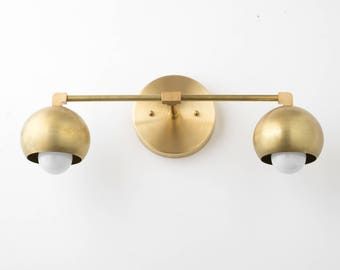 Vanity Lighting Home   Brass Bathroom Light   Mid Century Bathroom  Brass  Sconce Light