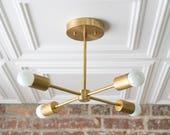 Gold Sputnik Light - Geometric Chandelier - Semi Flush - Modern Chandelier - Brass Fixture