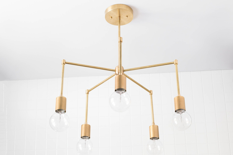 Mid Century Lighting Fixture: Mid Century Light Fixture Brass Hanging Lamp Ceiling