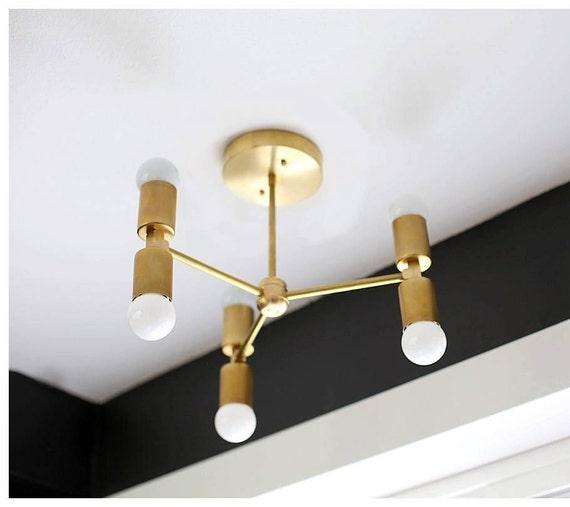 buy popular 2bd66 307e3 Minimal Chandelier - Modern Ceiling Lighting - Brass Ceiling Fixture - Mid  Century Light