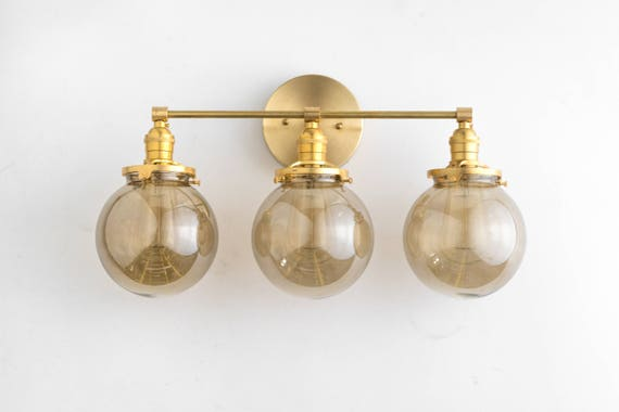 Vanity lights brass vanity lighting 3 bulb bathroom lamps etsy aloadofball Choice Image
