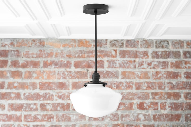 Black Pendant - Schoolhouse Shade - Schoolhouse Lighting - Modern Hanging  Light - Mid Century Lighting - Pendant Fixture - Pendant Light