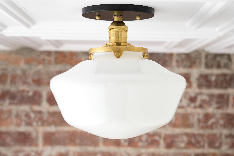 Schoolhouse Fixture Opal Ceiling Light Light Fixtures Etsy