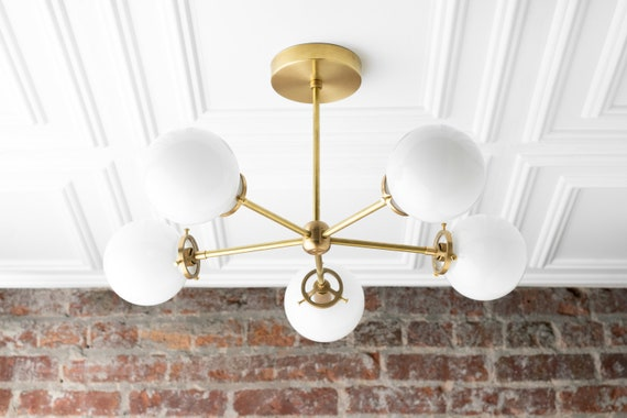 mid century lighting fixtures flush mount image globe chandelier brass ceiling lamp sputnik lights etsy