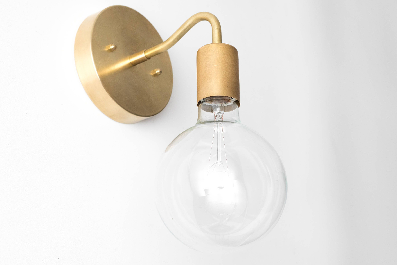 Brass wall sconce globe sconce minimal sconce light gold wall lamp raw brass fixture