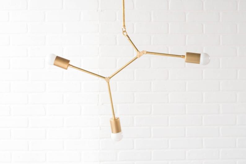 Mobile Chandelier  Brass Lighting  Geometric Light Fixture  image 0