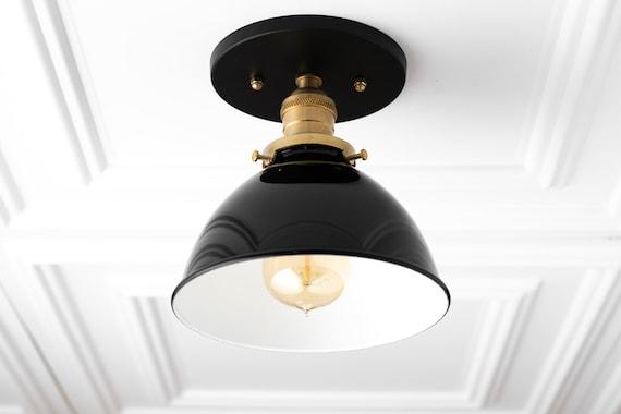 Black Ceiling Light Rustic Lighting Flush Mount Light Etsy