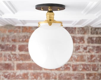 White Ball Light - Flush Mount Ceiling Light - Glass Pendant Globe - Semi Flush Light - Mid Century Globe - Model No. 1081