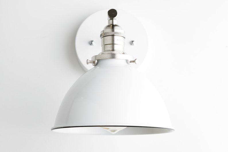 White Nickel Light White Wall Light Satin Nickel Sconce Modern Sconce Model No 7026 White Bucket Light Industrial Sconce
