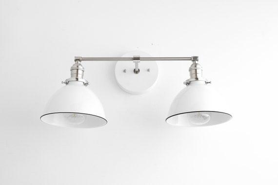 White Vanity Light Nickel Light Fixture Farmhouse Vanity