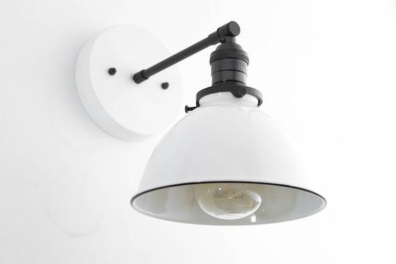 Industrial Wall Sconce Bathroom Lighting White Metal   Etsy