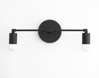 Black Vanity - 1950's Lighting - Mid Century Lighting - Bathroom Vanity - Hallway Lighting - Mirror Light - Wall Light - Model No. 8412