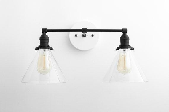 Modern Light Fixture Farmhouse Vanity Black White Light Etsy