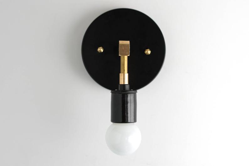 Applique minimaliste mur moderne lumière bougeoirs noir or etsy