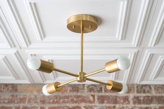 Gold sputnik light geometric chandelier semi flush etsy image 0 aloadofball Images