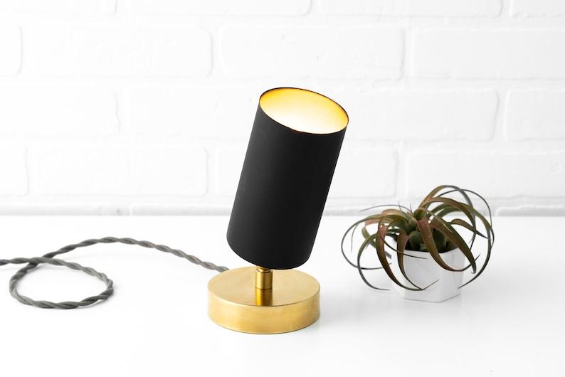 Mid Century Lighting Minimalist Lamp Accent Lamp Adjustable Spotlight Raw Brass Table Lamp Black Table Lamp