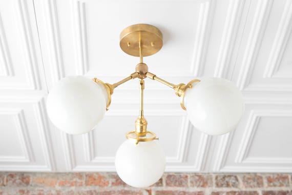 Semi Flush Globe Light Ceiling Hanging Lamp Dining Room   Etsy