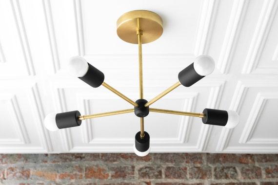 Sputnik Chandelier Gold Black Midcentury Lights Geometric