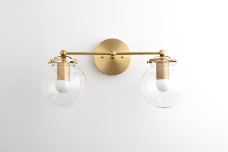 Modern Globe Vanity  Mid Century Lamps  Bathroom Wall Light 2.Raw Brass-pictured