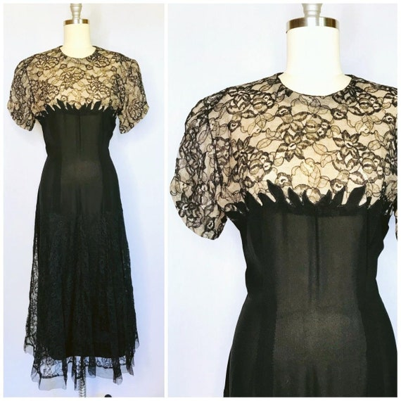 Vintage 40s Black Rayon Lace Dress Size XL large C