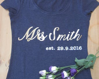 Personalised Mrs T-Shirt with Wedding Date and Your New Name