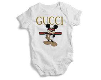 eb12342e431fed Stylish baby bodysuit GUCCI MICKEY on baby bodysuit colourful Toddler Tee  baby bodysuit tshirt bandana pullover bib baby shower gif