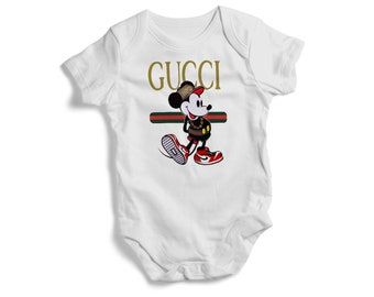 710b11e360d Stylish baby bodysuit GUCCI MICKEY on baby bodysuit colourful Toddler Tee  baby bodysuit tshirt bandana pullover bib baby shower gif