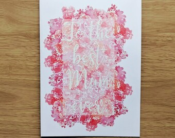 Customisable Floral White Calligraphy Mother's Day Card