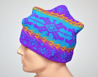 19265879b81c84 rad 80s knitted winter CAP / hat with snowflake design / blue main colour /  mens or womens