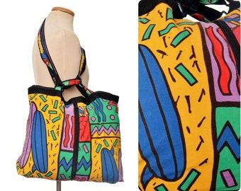 8bd46e389712 rad 80s Beach BAG   vintage holdall bag   gym   travel bag   crazy eighties    sports bag   market bag   neon shoulder bag   expandable