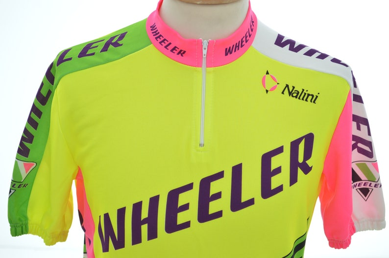 rad 80s CYCLING JERSEY by WHEELER  Nalini  mens size L large  90s neon  short sleeve T-shirt top  made in Italy