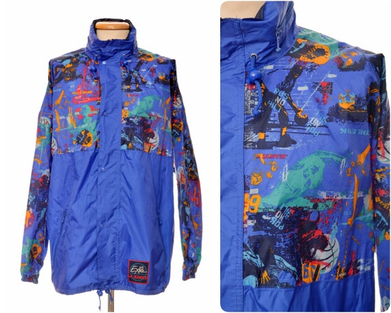 rad 80s 90s biker RAIN JACKET by JEANTEX retro windbreaker cagoule, mens xl nylon neon sports Exile of function