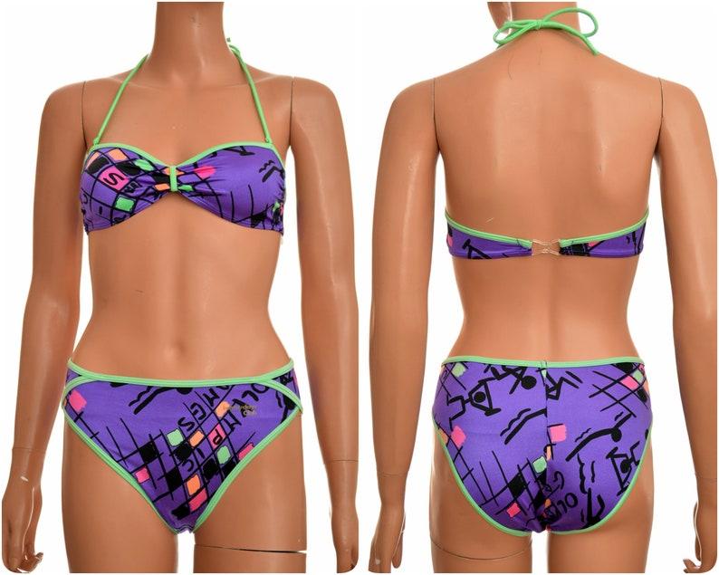 Costumi Da Bagno Anni 80 : Anni al neon bikini costume da bagno pezzi di etsy
