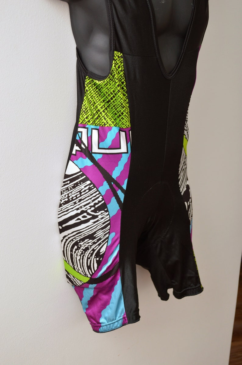 rad 80s 90s Cycling BIB Shorts by DE MARCHI  men/'s size xl extra large  made in Italy  neon fluo colours