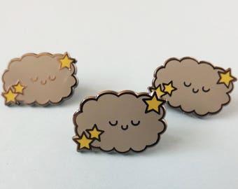 Starry Cloud Pin, Enamel Pin, Pin Badge, Kawaii Cloud, Pin Flair, Hard Enamel, Lapel Pin, Grey Cloud, Storm Cloud, Cloud Brooch, Kawaii Pin