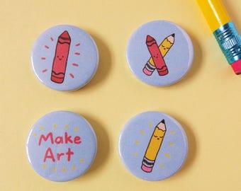 Make Art Badge Pack, Button Badge, Artist Gift, Mini Badges, Stationery Addict, Pencil Pin, Pin Badge, Art Pin, Party Favours, Kawaii Pins