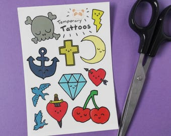 A6 Temporary Tattoos, Traditional Tattoos, Kawaii Tattoo Designs, Fake Tattoo, Halloween, Party Favours, Hen Party, Pirate Party, Gift